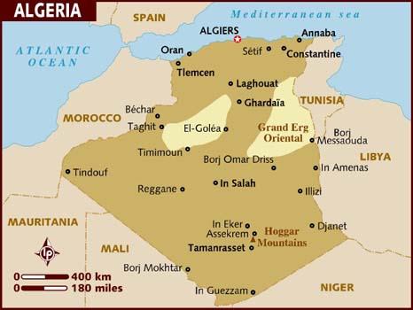 algeria south africa map