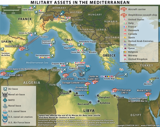 map of libya and tunisia. Stratfor map of Coalition